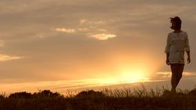 Una famiglia felice sta camminando dietro la mamma su un fondo del tramonto Siluette della gente Il concetto di una famiglia feli stock footage