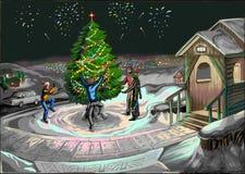 Una famiglia intorno all'albero di Natale vicino alla casa illustrazione vettoriale