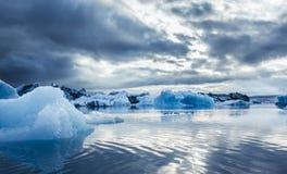 Una familia de patos y de hielo azul en Icelake Jokulsarlon islandia Fotos de archivo