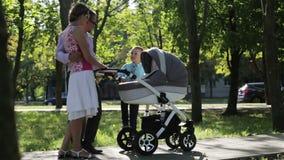 Una familia joven feliz con dos niños en un parque almacen de video