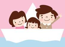 Una familia viaja en nave stock de ilustración