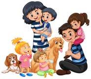 Una familia y un animal doméstico felices ilustración del vector