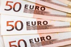 Una fan de cincuenta billetes de banco euro Imagen de archivo libre de regalías