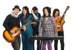 Una fascia di energia di cinque musicisti Immagine Stock