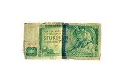 una fattura da 100 corone della Cecoslovacchia ha isolato su fondo bianco Immagini Stock Libere da Diritti