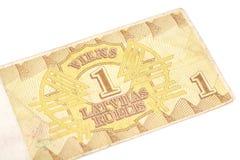 una fattura da 1 rublo della Lettonia Fotografia Stock Libera da Diritti