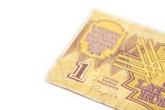 una fattura da 1 rublo della Lettonia Fotografia Stock