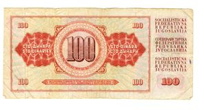 una fattura dai 100 dinari della Iugoslavia, 1978 Immagini Stock
