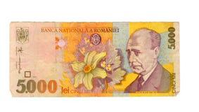 una fattura dai 5000 leu della Romania, 1998 Immagini Stock