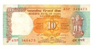 una fattura dalle 10 rupie dell'India Fotografia Stock