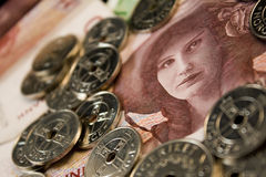 una fattura delle 100 corone scandinave con le monete Fotografia Stock