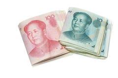 una fattura di 10 e 100 yuan, fondi della Cina Immagine Stock Libera da Diritti