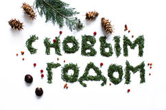 Una Feliz Año Nuevo de la muestra en ruso Fotos de archivo