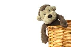 Una felpa, mono suave mullido del juguete que se sienta en una cesta con un fondo blanco Fotografía de archivo
