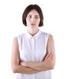 Una femmina stanca dell'ufficio, isolata su un fondo bianco Una signora triste La ragazza è stata offenduta Una donna deludente Fotografia Stock