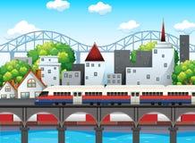 Una ferrovia nella scena della città illustrazione vettoriale