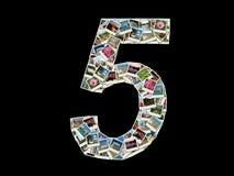 Una figura di un collage delle 5 figura-foto Fotografie Stock