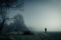 Una figura incappucciata sola condizione su un percorso su una notte nebbiosa spettrale, con un blu freddo pubblicare fotografie stock