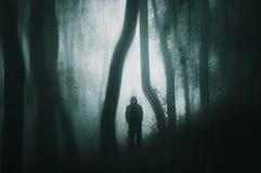 Una figura silueteada, encapuchada fantasmagórica con los ojos que brillan intensamente en un bosque oscuro con un grunge silenci imagenes de archivo