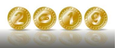 Una fila de las monedas de oro chispeantes simbólicas con los números del Año Nuevo 2019 con la reflexión del shadaow y de espejo stock de ilustración