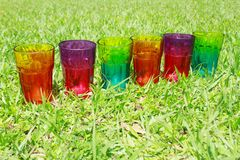 Una fila de los vidrios del arco iris en la hierba Imagenes de archivo