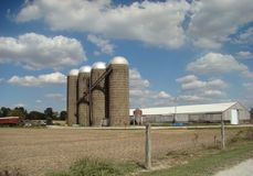 Una fila del silos dell'alimentazione fotografie stock libere da diritti