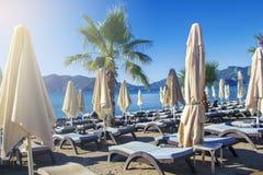 Una fila delle sedie e degli ombrelli di salotto blu in una regolazione tropicale Fotografia Stock Libera da Diritti
