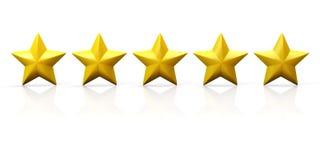 Una fila di cinque stelle gialle sull'aereo lucido Immagini Stock Libere da Diritti