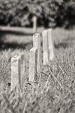 Una fila di piccole lapidi non marcate del bambino verticali Fotografie Stock
