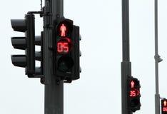 Una fila di tre semafori Immagine Stock