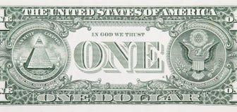 Una fine della parte posteriore del Bill del dollaro in su Immagini Stock