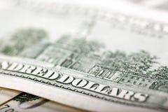 U.S.A. cento dollari di macro di Bill Fotografie Stock Libere da Diritti