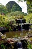Una fine su di bella cascata che passa un giardino fotografia stock