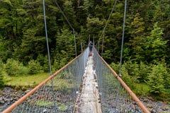 Una fine su di un ponte girevole, utilizzato per l'attraversamento dei fiumi sulle passeggiate in Nuova Zelanda immagine stock