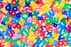Una fine sul colpo delle lettere magnetiche Immagini Stock Libere da Diritti