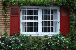 Una finestra con gli otturatori aperti sulla parete dell'edera fotografie stock