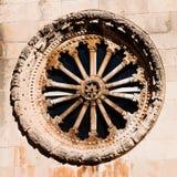 Una finestra di rosa dalla chiesa del salvatore della st, Dubrovnik Immagine Stock