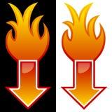 Flecha con las llamas Imagen de archivo libre de regalías