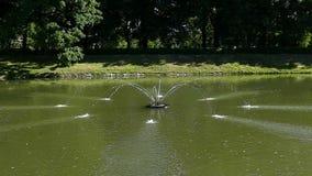 Una fontana con le correnti lunghe che cadono in un lago di estate nel slo-Mo stock footage