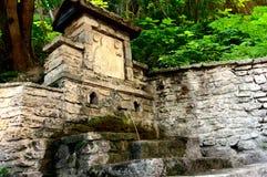 Una fonte antica di acqua naturale Fotografia Stock Libera da Diritti