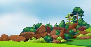 Una foresta con le grandi rocce Fotografia Stock Libera da Diritti