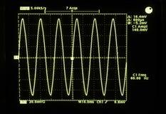 Una forma de onda del seno de 60 hertzios de voltaje eléctrico de la CA de Norteamérica. Imagen de archivo