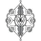 Una forma di due foglie ispirata tramite il tatuaggio del hennè Immagini Stock Libere da Diritti