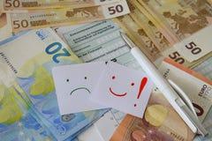 Una forma en blanco para la declaración de impuestos alemana y una pluma Foto de archivo libre de regalías