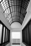 Una foto in bianco e nero del pannello 25 ha incurvato il soffitto del vetro al piombo Immagini Stock