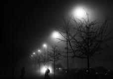 Una foto blanco y negro de una calle en la noche con las luces de calle que brillan detrás de los árboles y de las siluetas de ca Imagenes de archivo