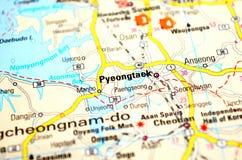 Una foto de Pyeongtaek en un mapa fotos de archivo libres de regalías
