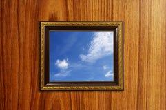Una foto de un marco de madera Fotografía de archivo