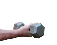 Una foto de una tenencia de brazo del ` s del hombre al peso en un fondo blanco Fotos de archivo libres de regalías