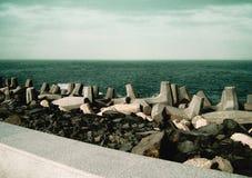 Una foto della scena sopra la costa della località di soggiorno della barra di EL di ras, Egitto Immagine Stock